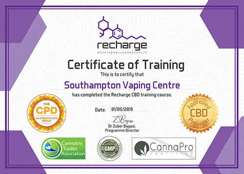 Recharge CBD - Certificate of Training